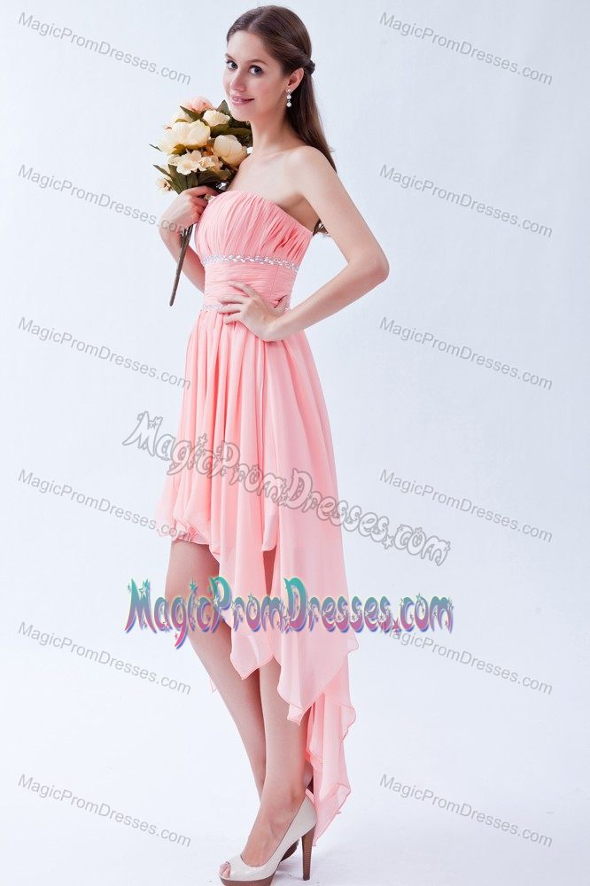 Strapless Baby Pink Asymmetrical Beaded Prom Gown Dress in Saint Francis