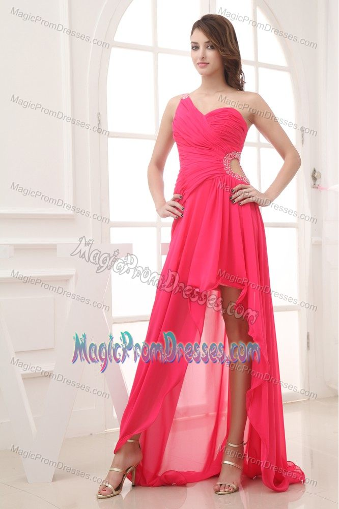 Pink Single Shoulder High-low Semi-formal Prom Dresses with Cutout