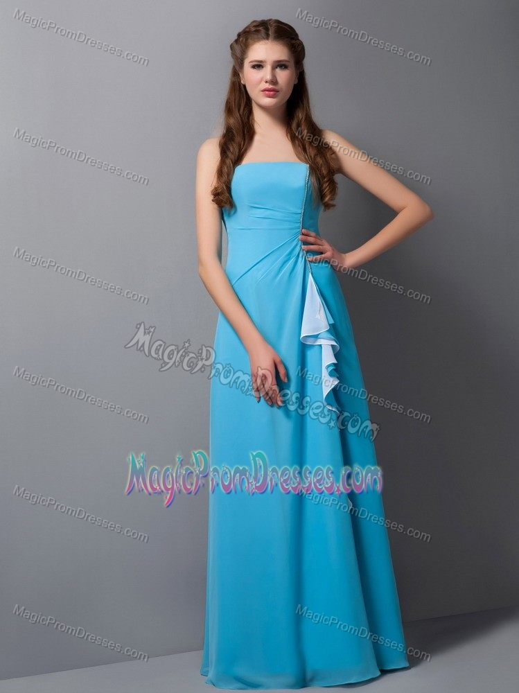 Plus Size Strapless Aqua Blue Long Formal Junior Prom Dress For