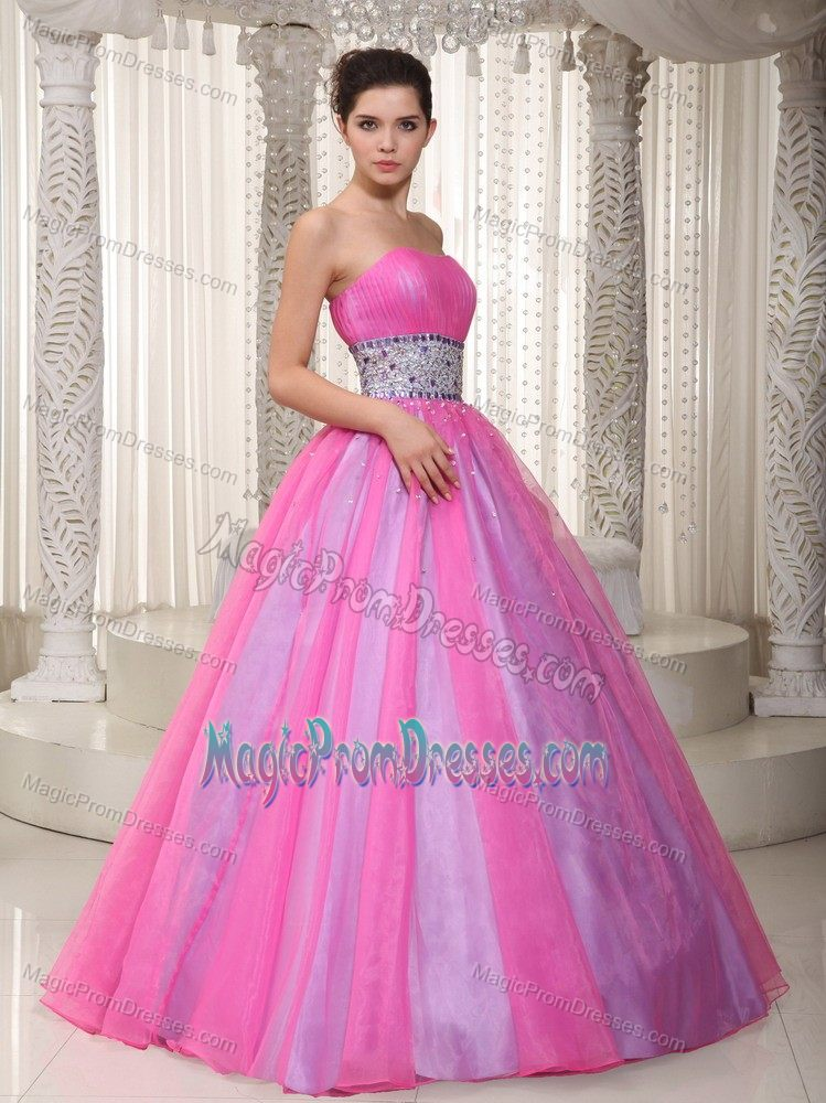 Vintage Princess Strapless Hot Pink Prom Dresses with Beaded Waist