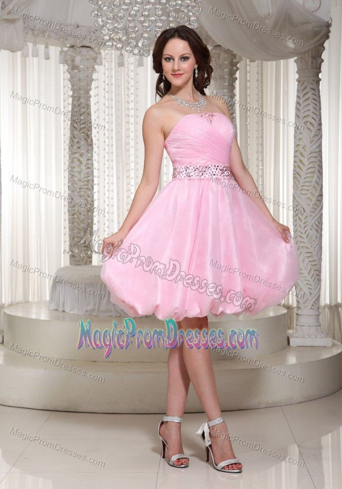 Hot Sale Zipper-up Baby Pink Short Prom Dress for Slim Girls with ...