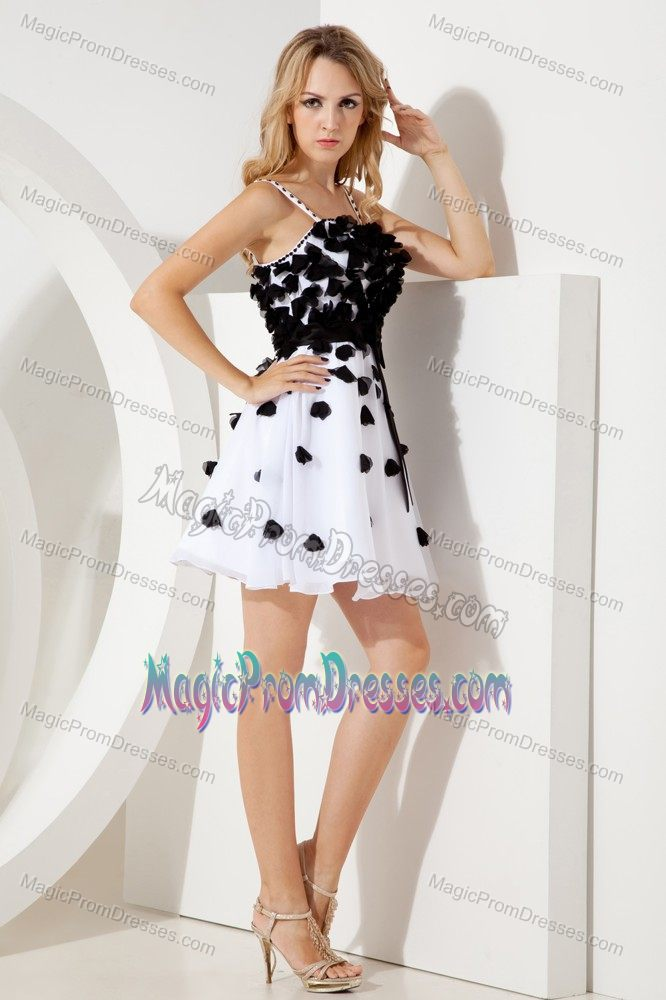 Cute Spaghetti Straps White Short Junior Prom Dress with Flowers and ...