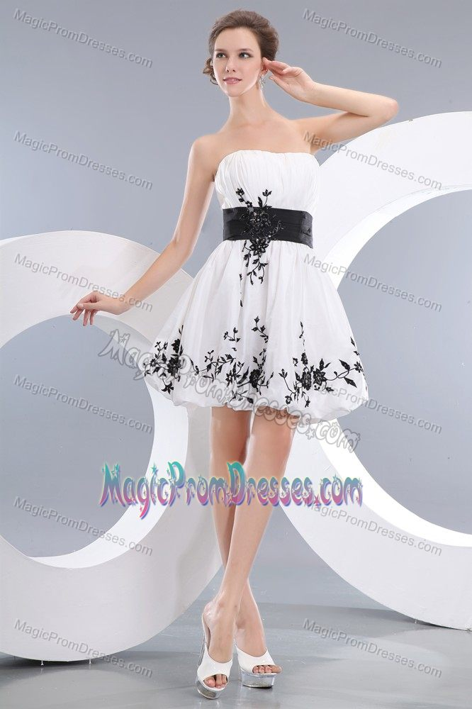 Hot Sale Strapless White Short Semi-formal Prom Dress with Black ...
