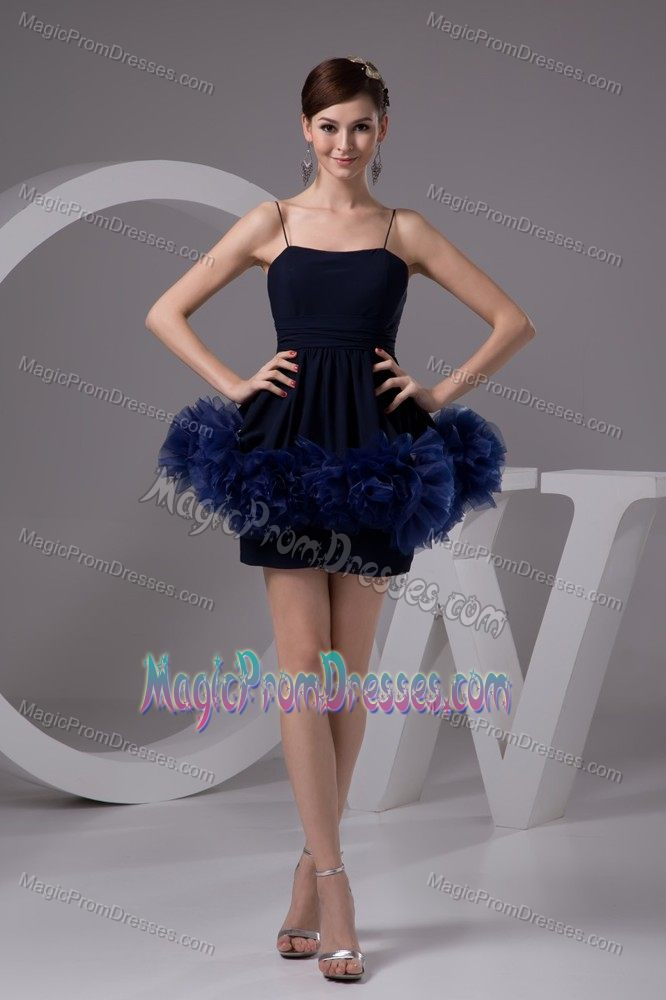 Navy Blue Spaghetti Straps Short Semi Formal Prom Dress With Flowers