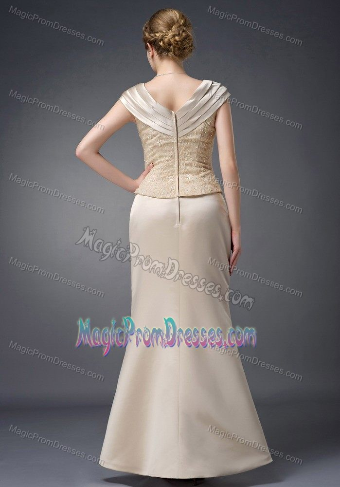 Exquisite Zipper-up V-neck Beaded Long Formal Prom Dress in Champagne