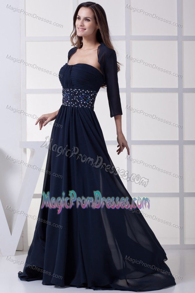 Latest Navy Blue Strapless Brush Train Prom Dress with Bead Waist