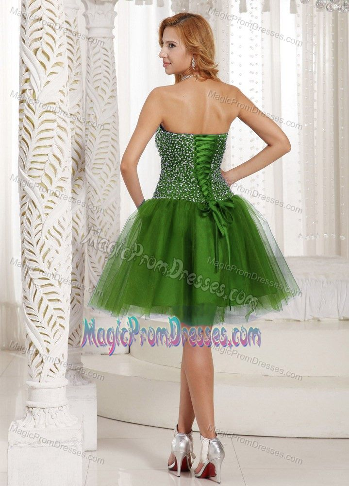 Olive Green Sleeveless Short Tulle Prom Gowns with Beading in Tuscaloosa