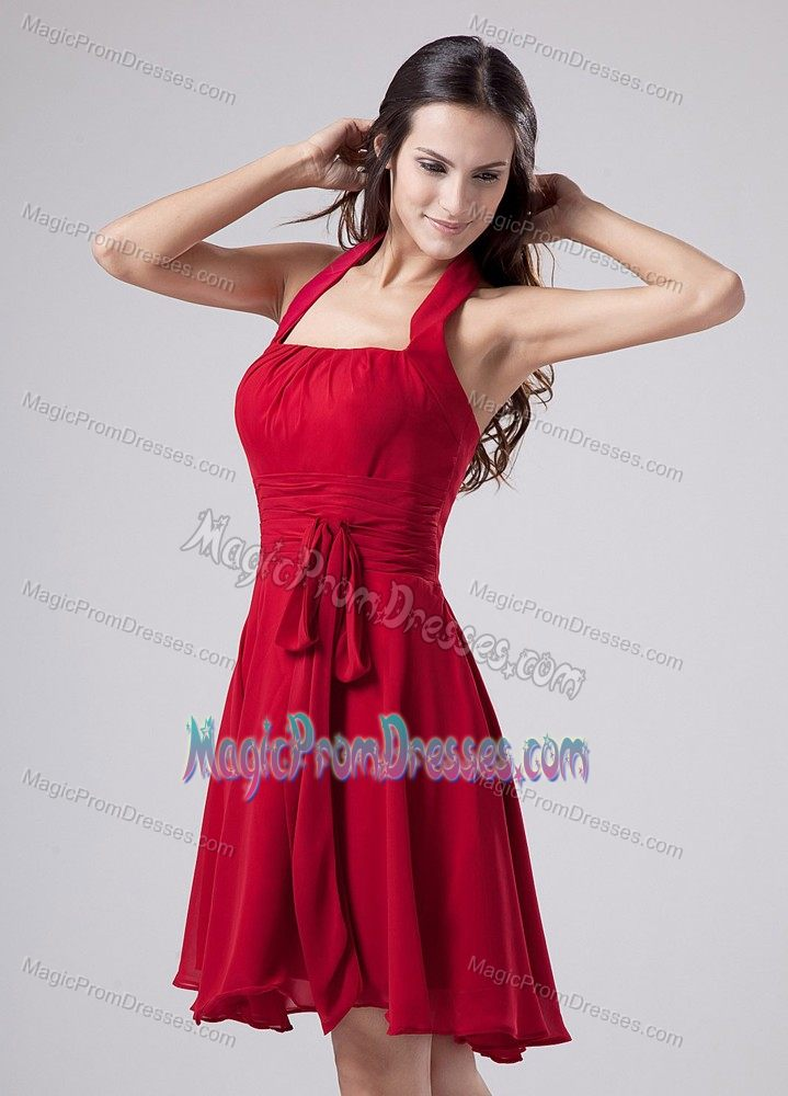 USA Halter Chiffon Semi-formal Dress for Prom in Wine Red with Sash