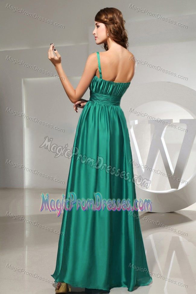 High Quality One Shoulder Ruched Long Prom Dress in Turquoise Online