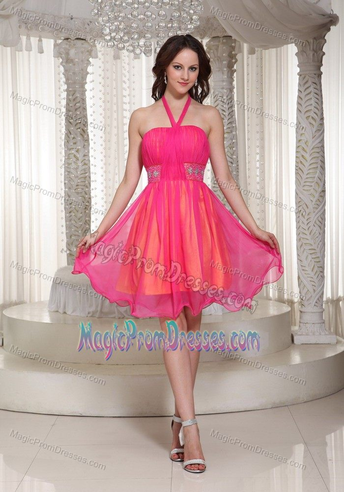Latest Halter Short Cocktail Prom Dress For Ladies In Hot Pink Under 100