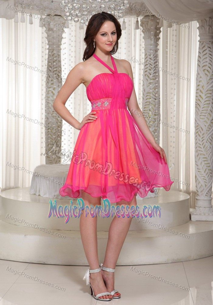 Girly Latest Halter Short Cocktail Prom Dress for Ladies in Hot Pink ...