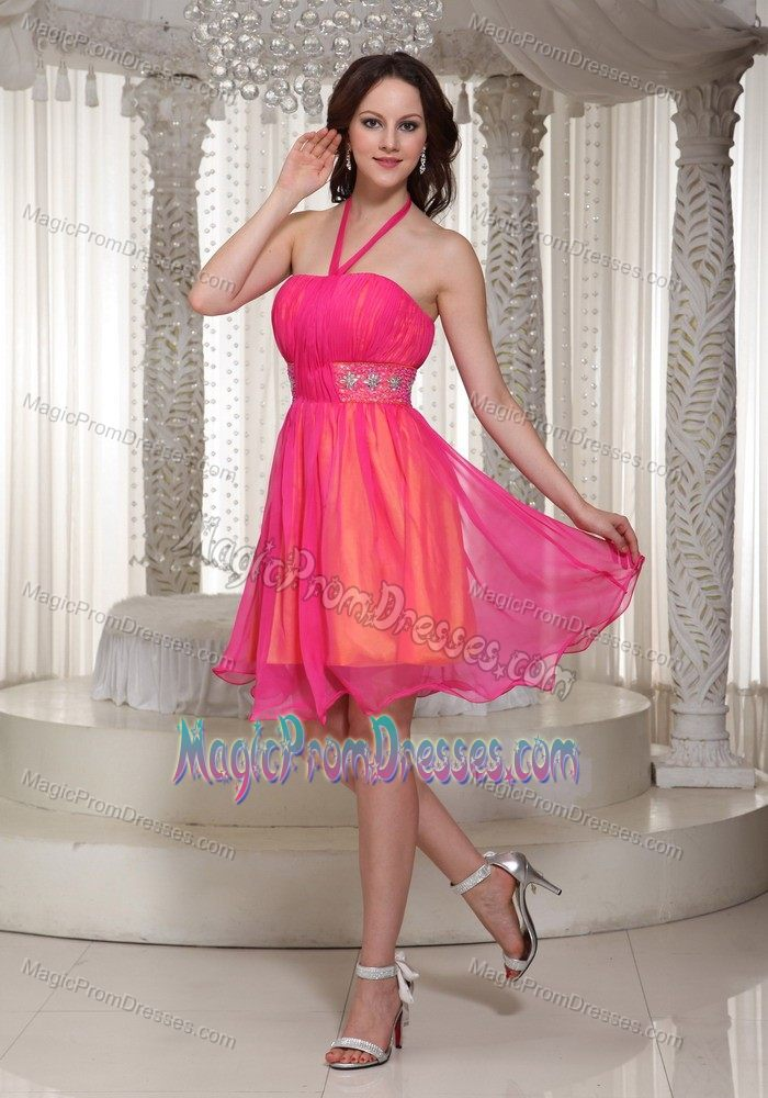 Girly Latest Halter Short Cocktail Prom Dress For Ladies