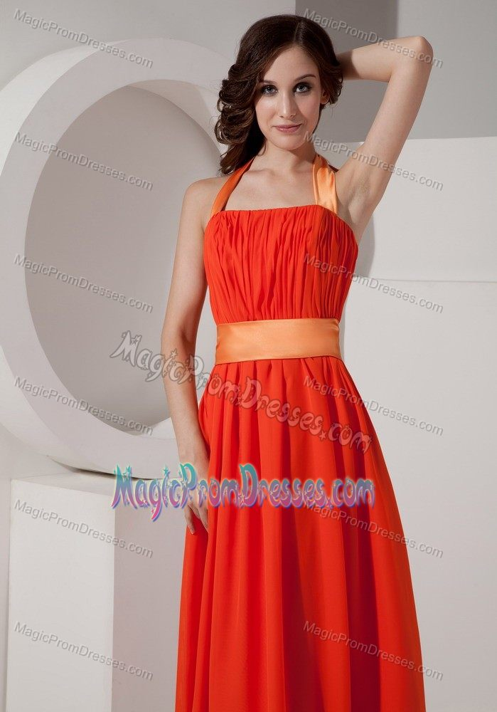 Orange Halter Chiffon Prom Gown Dresses with Sash in ...
