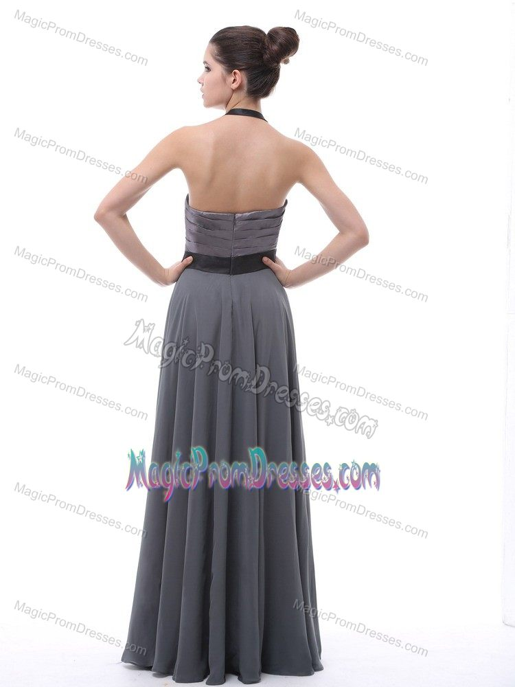 Halter Ruched Black Custom Made Prom Dress In Grey In
