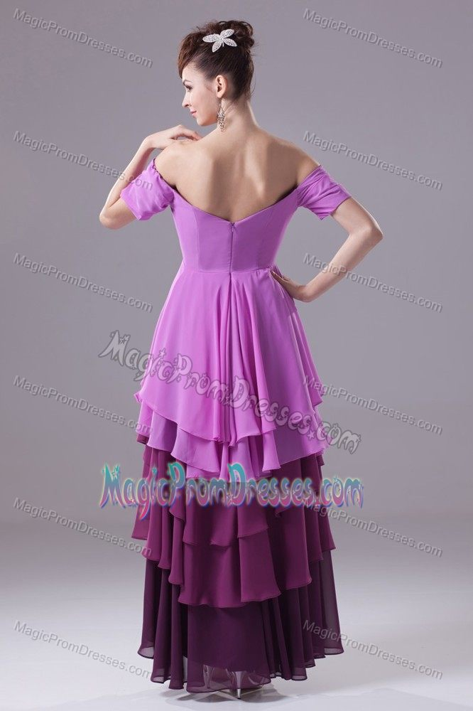 Asymmetrical Off The Shoulder Multi-colored Chiffon Prom Dress Beaded