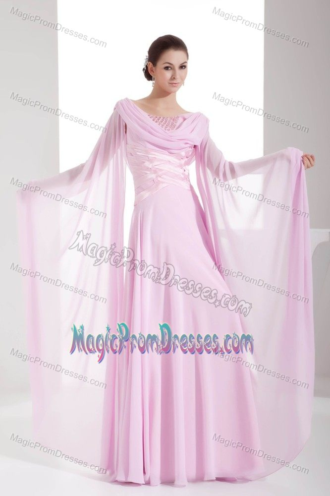 Cowl Neck Long Sleeves Chiffon Light Pink Beaded Prom ...