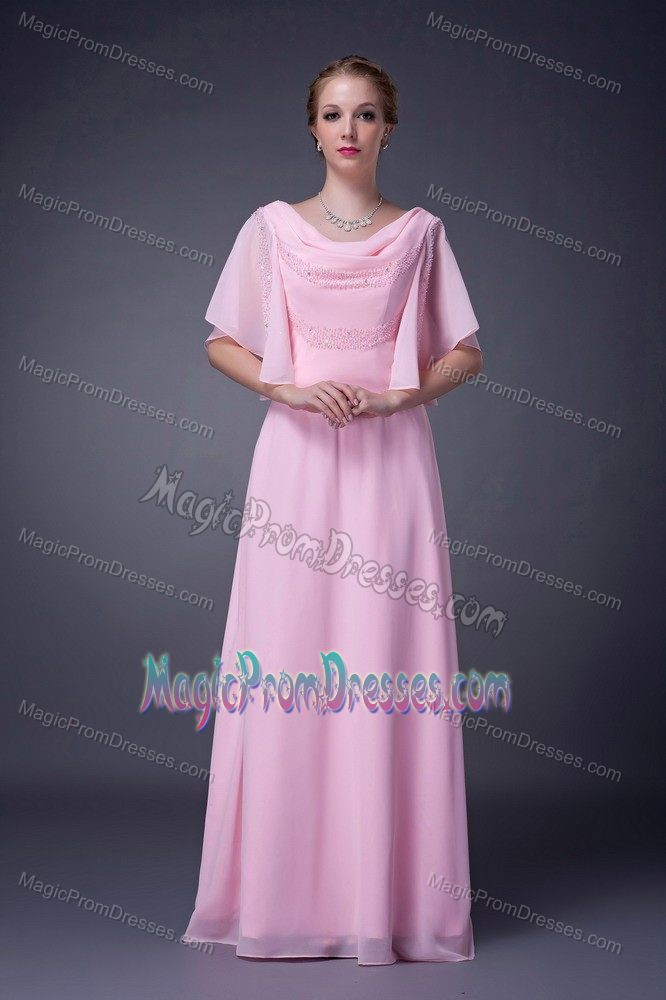 Wholesale Zipper Up Cowl Neck Beaded Pink Senior Prom Dress In Loose