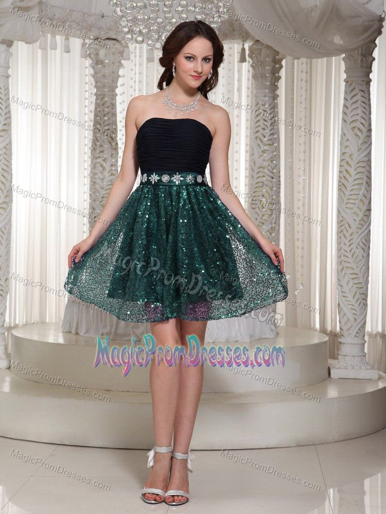 2014 Modest Strapless Black and Green Short Prom Dress with Paillette