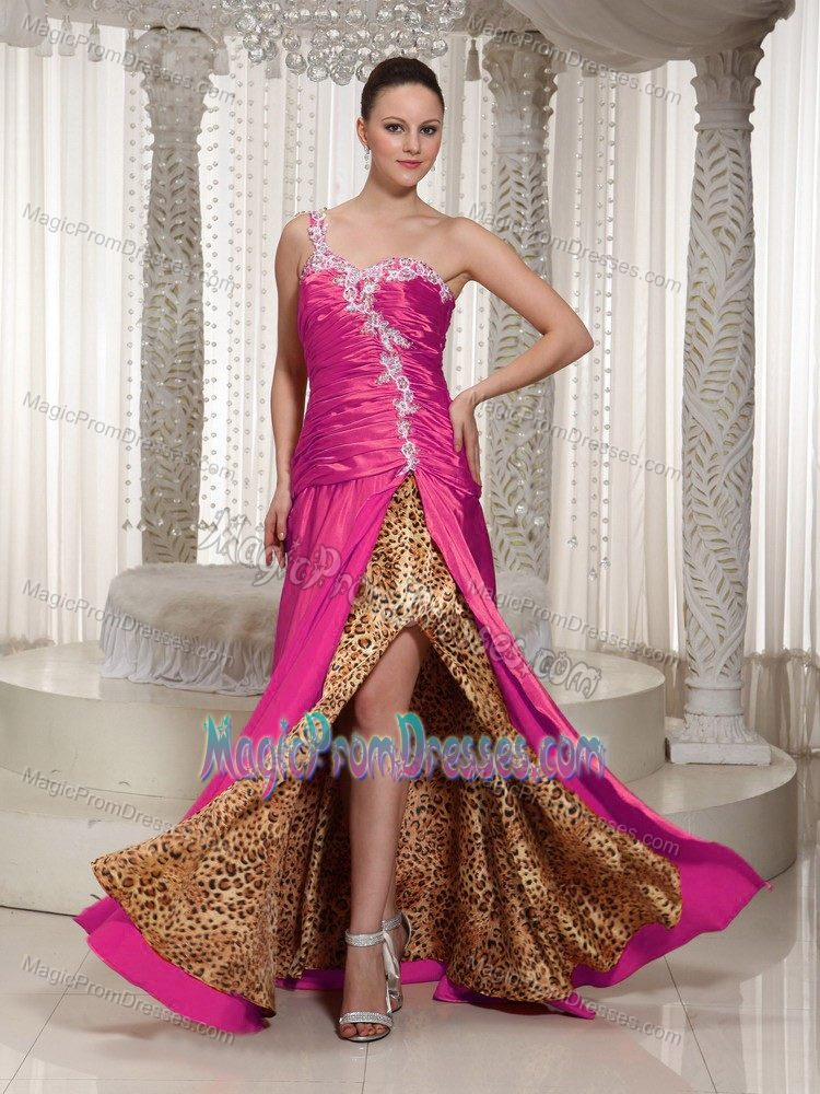 Leopard Print One Shoulder Appliqued Fuchsia Prom Dresses Designers
