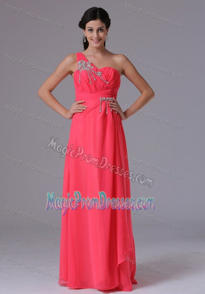 Cheap Chiffon One Shoulder Coral Red Long Prom Dresses under 150