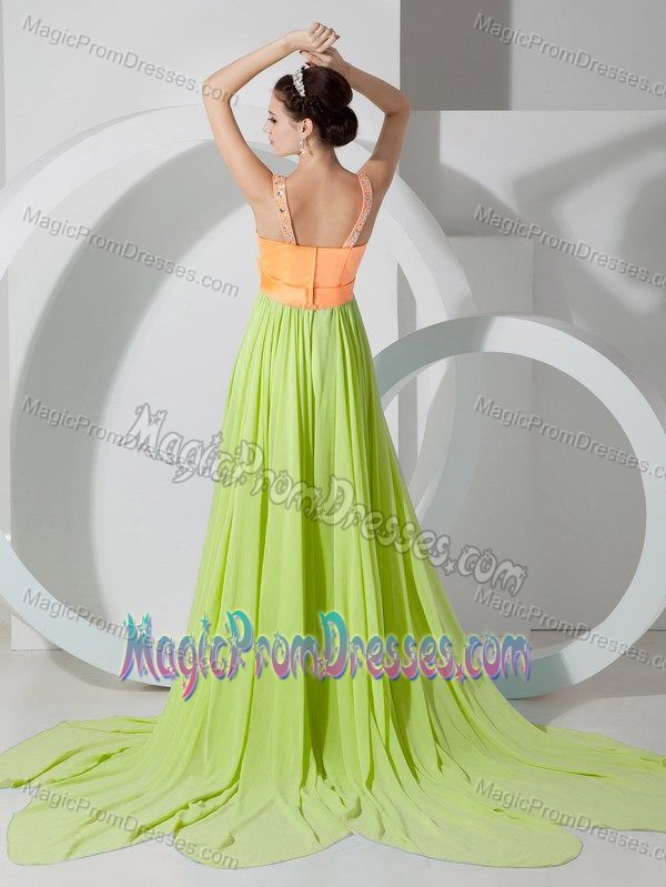 Two-toned V-neck Beaded Prom Dress for Girl with Bow Court Train