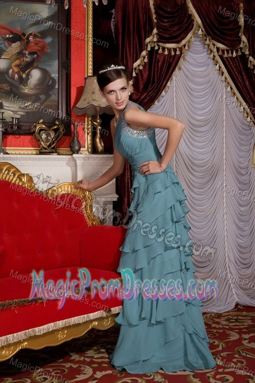 One Shoulder Tiered Beaded Prom Gown Dress in Cadet Blue Bismarck ND