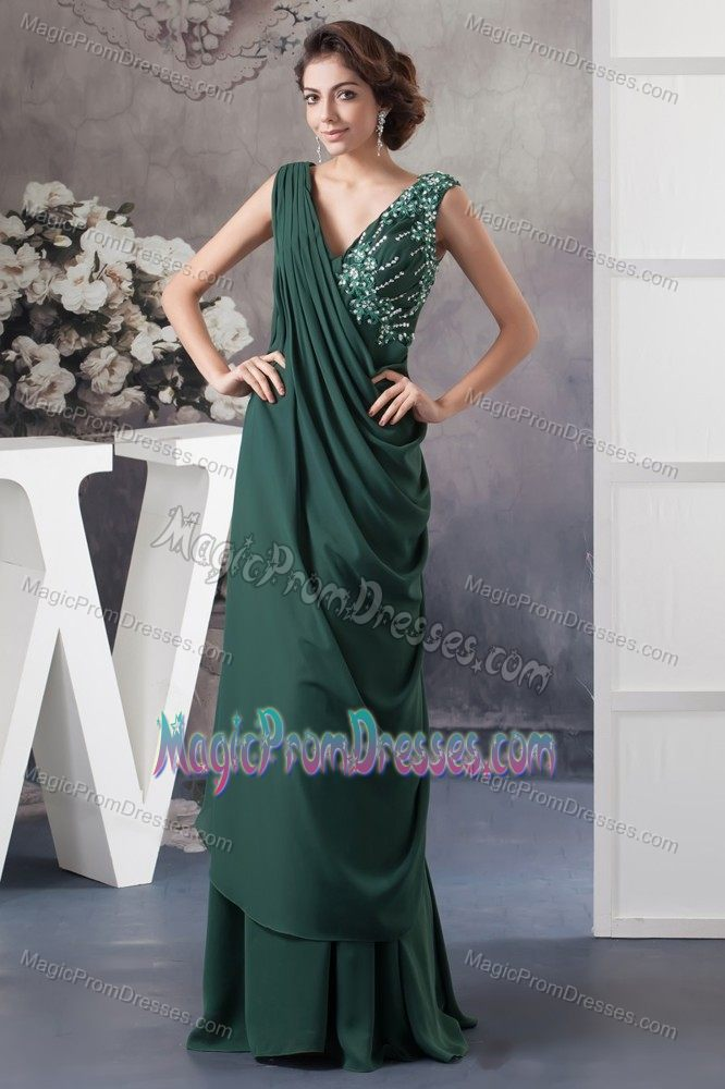 Ruched Beaded Dark Green Semi Formal Prom Dresses In Wollongong