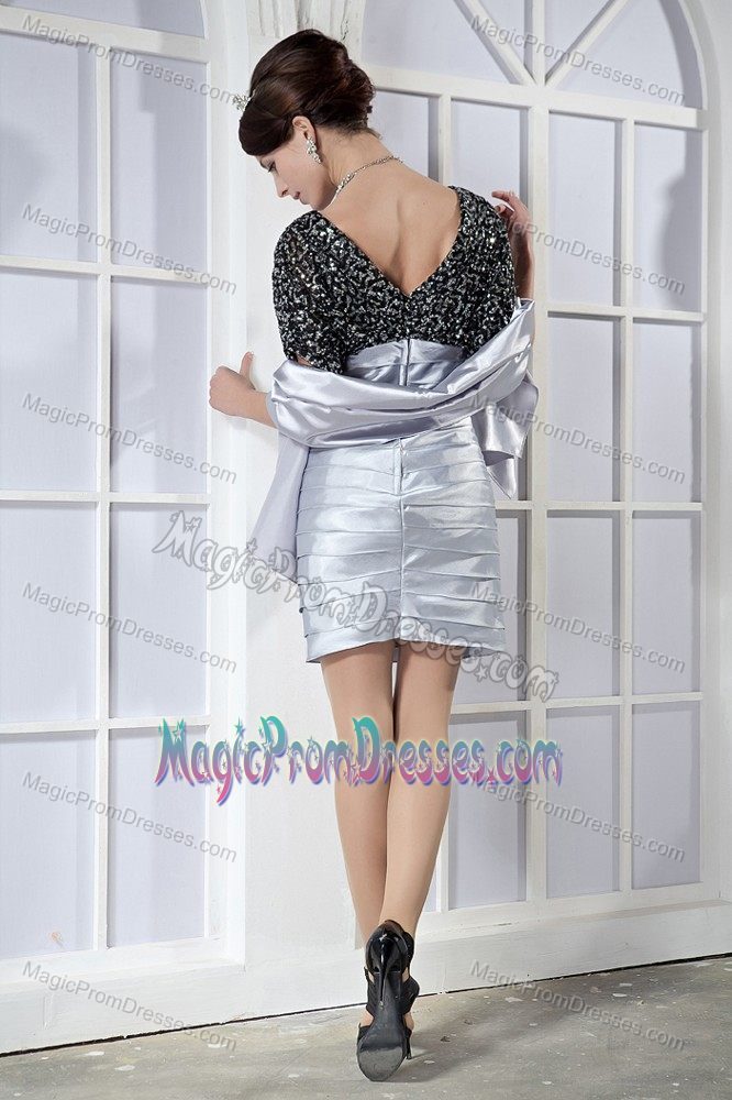 Taffeta Sequin Black and Silver Prom Dress with Puffy Short Sleeves ...