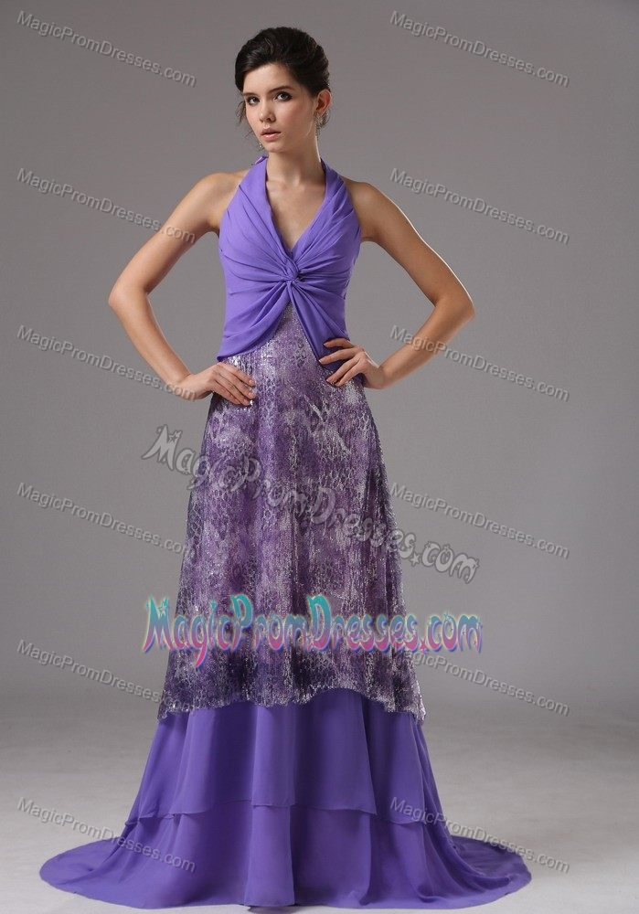 2013 New Arrival Halter Brush Train Purple Formal Prom Gown Patterns