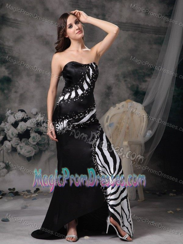 Zebra Print White And Black Formal Dress For Prom With Beading In Style