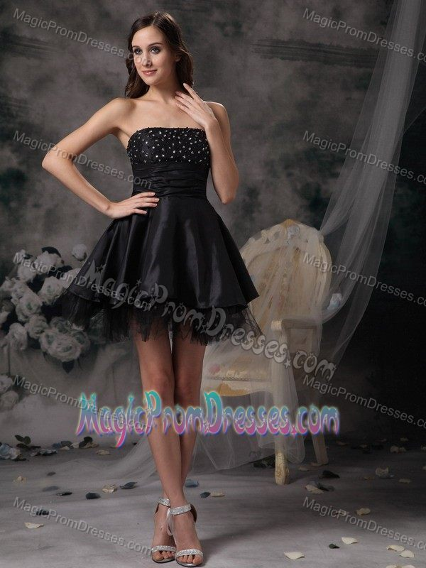 Cheap Puffy Black Mini Prom Dress for Slim Girls with Beading under 100