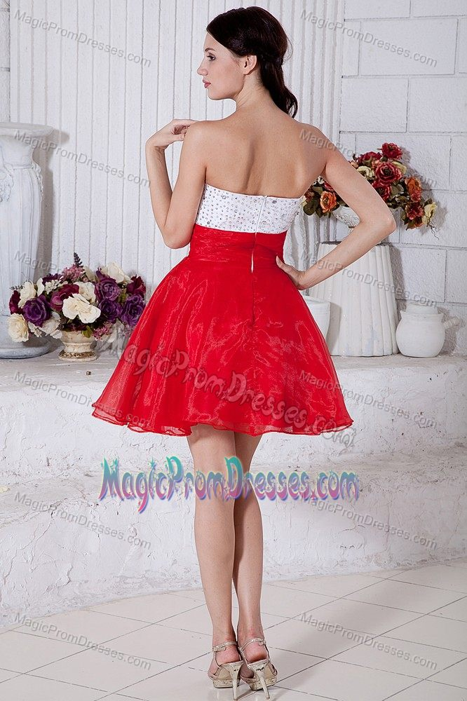 Lovely White and Red Organza Puffy Short Prom Dress for Junior about 100