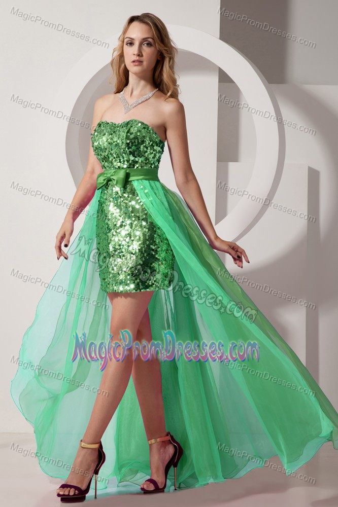 Green High-low Sequin Chiffon Seniors Prom Dress with Bowknot