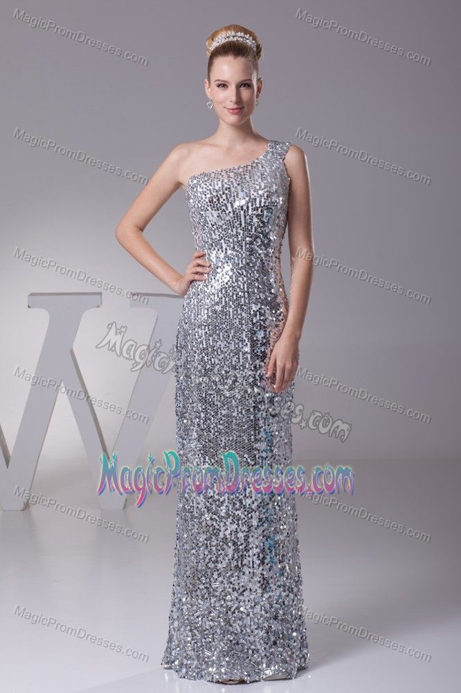 Size Sequin One Shoulder Silver Long Prom Gown In Amsterdam Ny