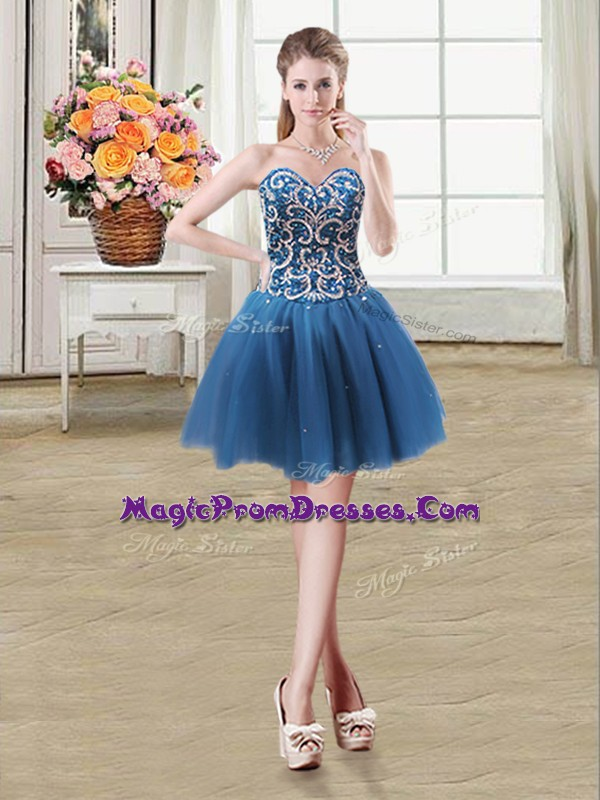 Graceful Sequins Teal Sleeveless Tulle Lace Up Prom Dresses for Prom and Party