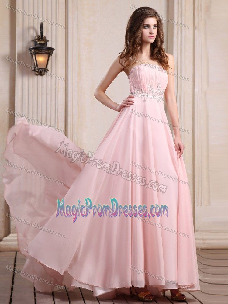 Pretty Brush Train Baby Pink Beaded Prom Dress for Summer in Carson ...