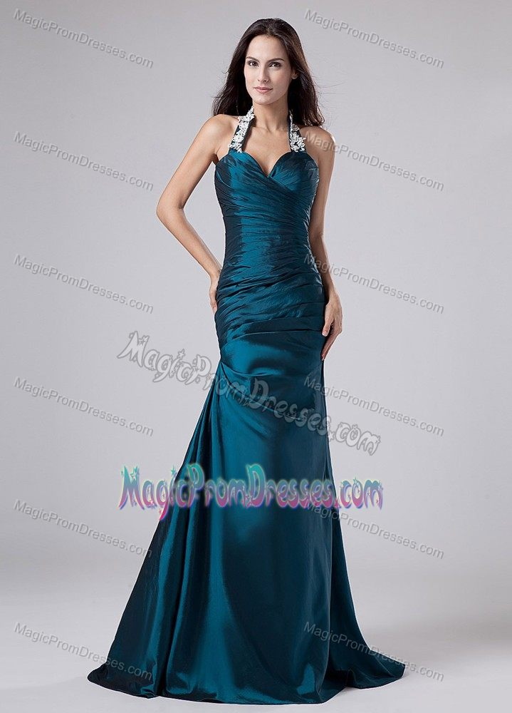 Elegant Turquoise Formal Prom Gown Dress with Appliqued Straps under 150