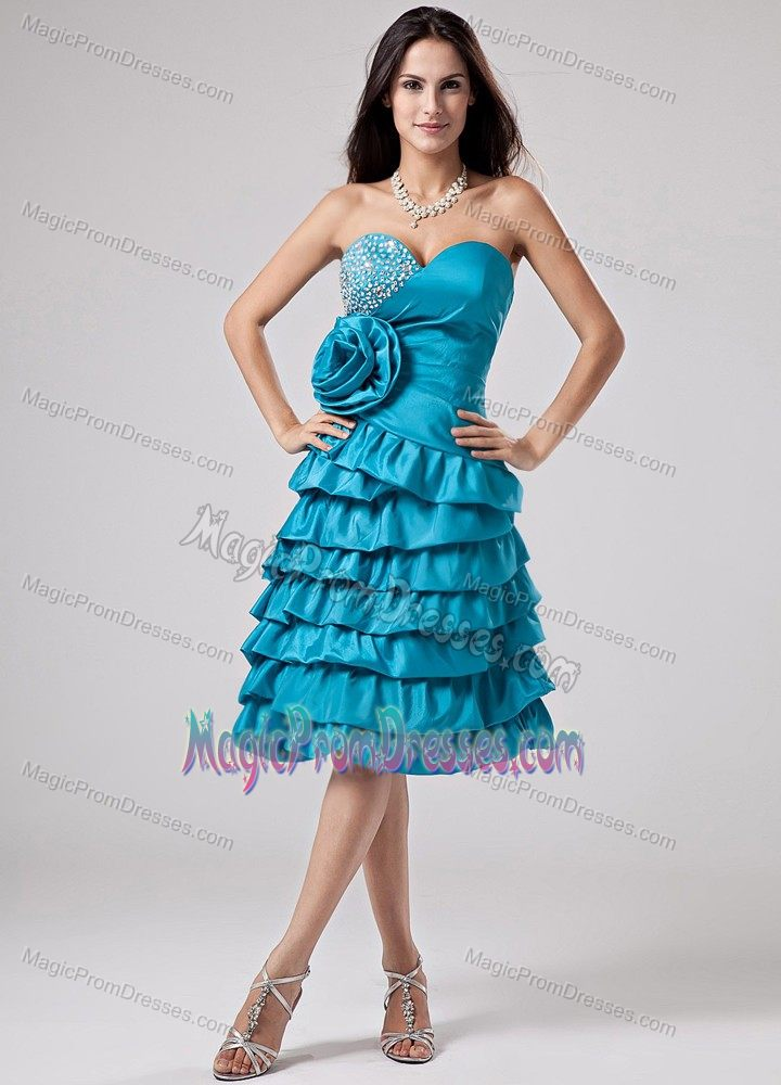 Hot Beaded Tiered Teal Short Prom Dresses with Flower in Reno NV