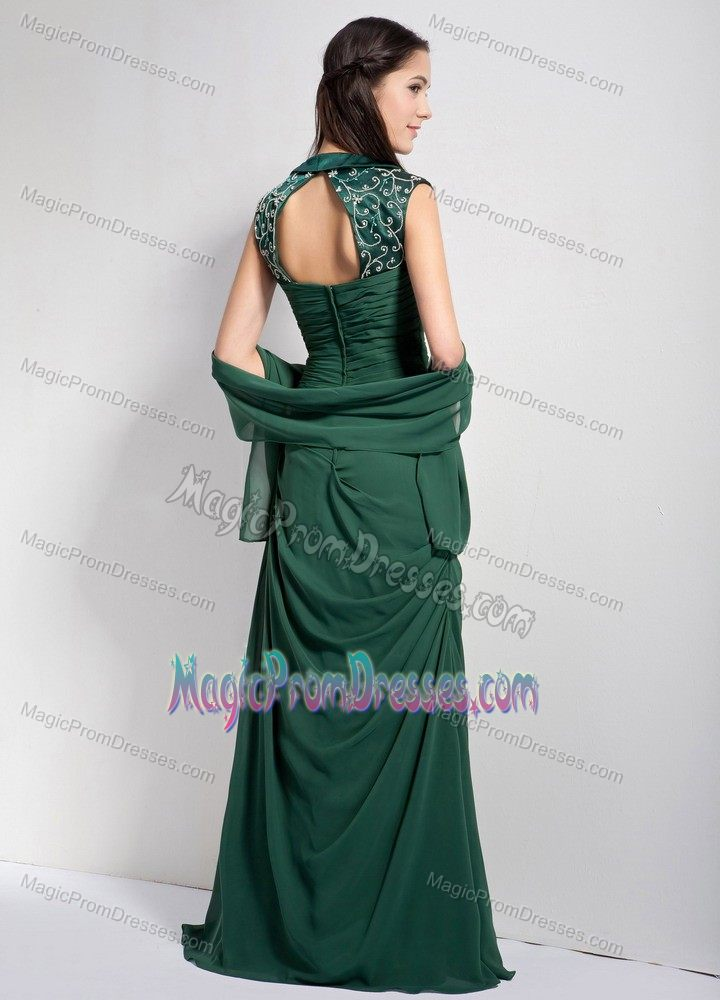 Dark Green Chiffon Long Prom Gown Dress with Cut Out Back in Fashion