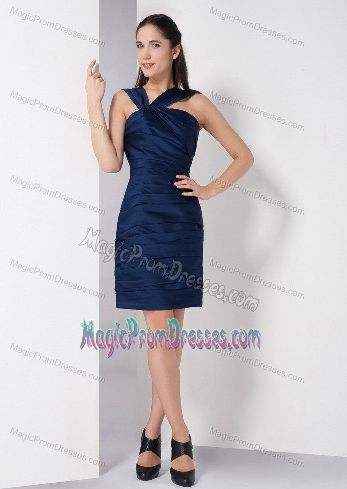 Simple Style Navy Blue Short Semi Formal Prom Dress For Summer 2014