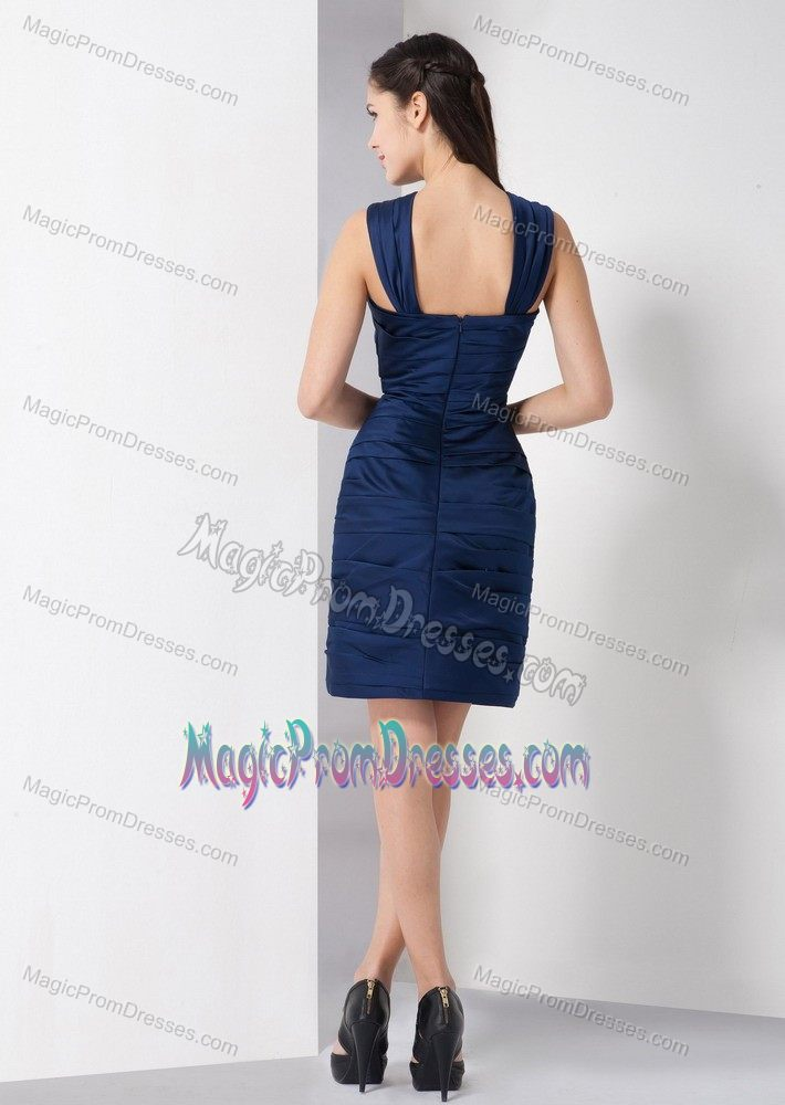 simple style navy blue short semiformal prom dress for