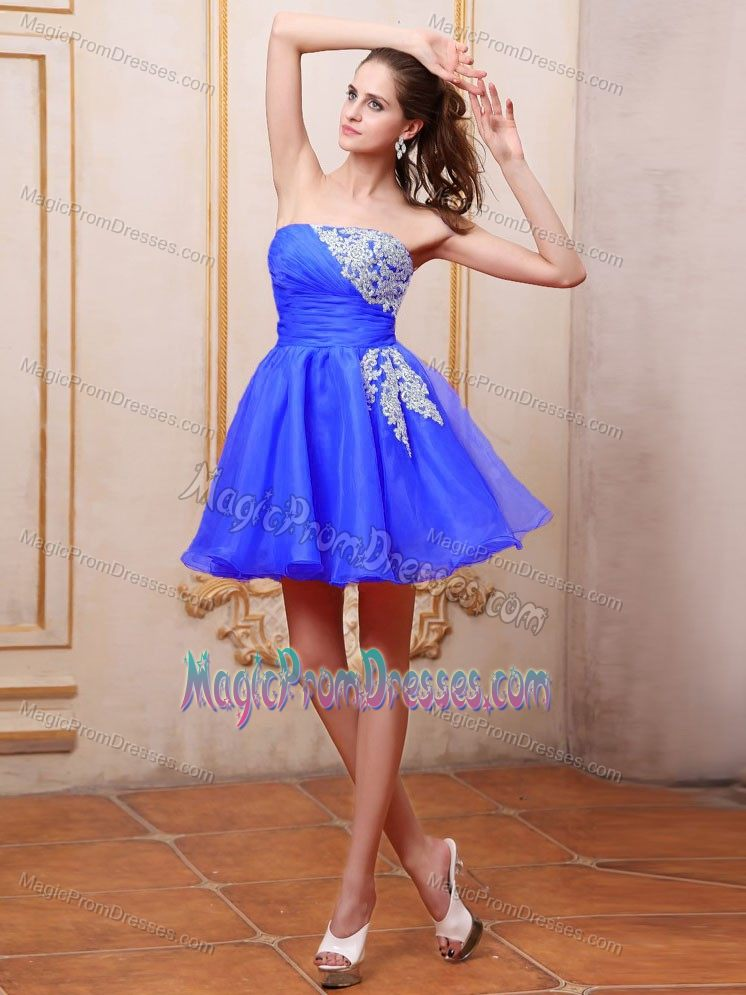 Blue Puffy Prom Dresses Cheap
