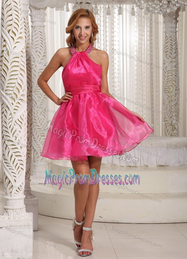 Organza Puffy Hot Pink Mini Prom Dress with Beaded Halter Top under 100