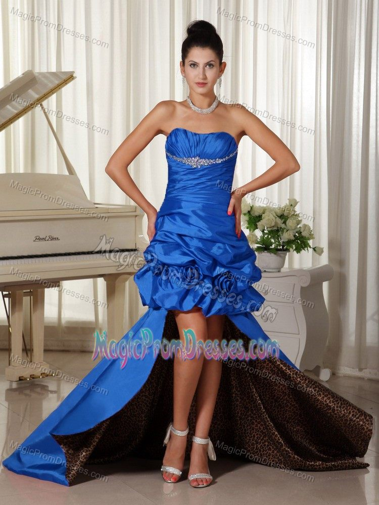 High-low Blue Taffeta Prom Gown with Leopard Print Inside in ...