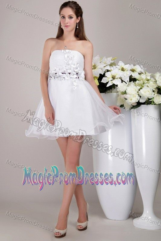 Puffy Organza Strapless White Prom Dress with Floral Embellishment ...