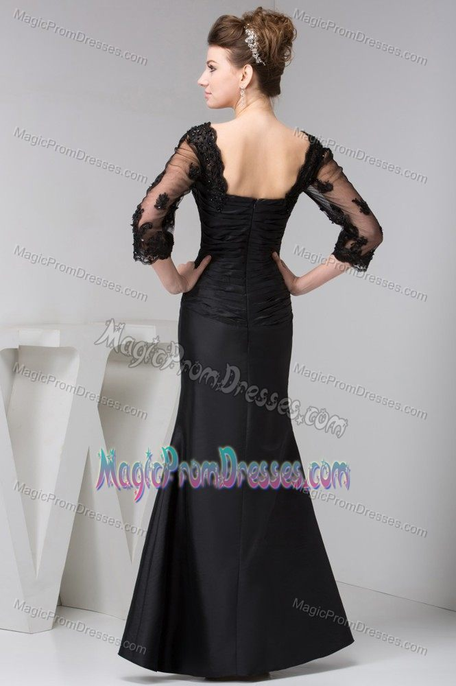 Ruched Black Lace Semi-formal Prom Dresses In Parramatta NSW