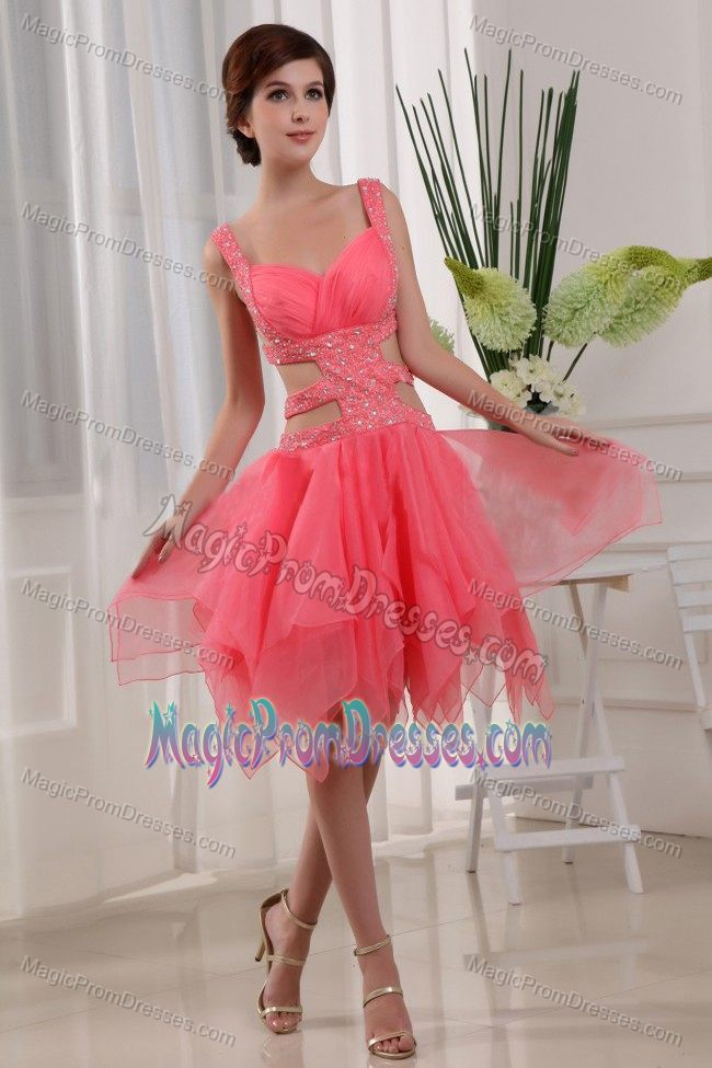 Asymmetrical Watermelon Junior Prom Dresses with the Back out