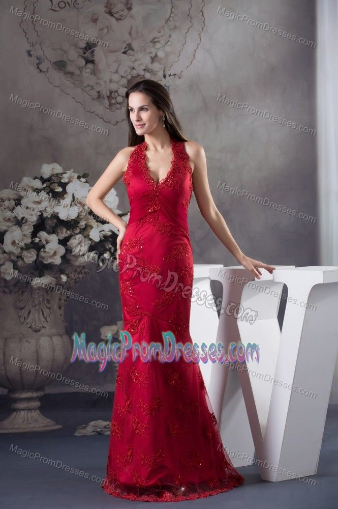 Mermaid Halter Appliqued Wine Red Prom Dress for Flat Chested Girls