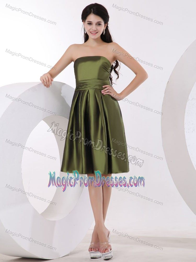 Olive Green Strapless Knee-length Semi-formal Prom Dress in Knoxville