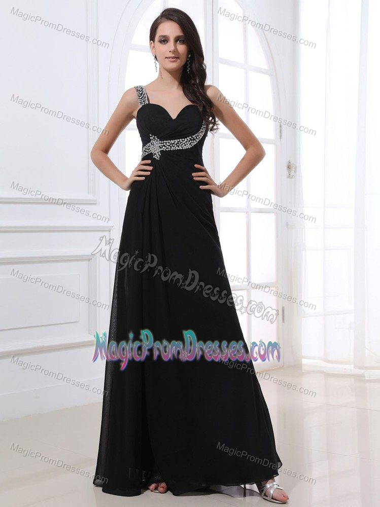 One Shoulder Beaded Black Semi-formal Prom Dresses in Victoria TX